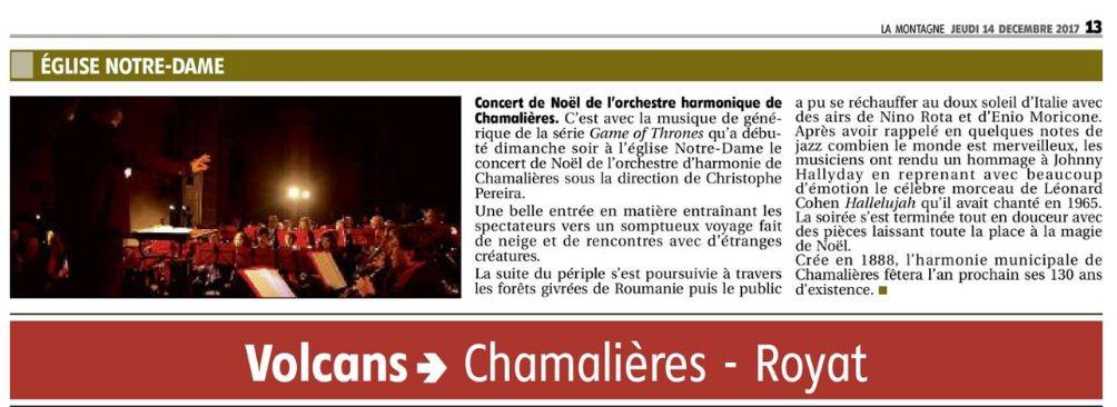 La Montagne 14/12/2017 concert noël église